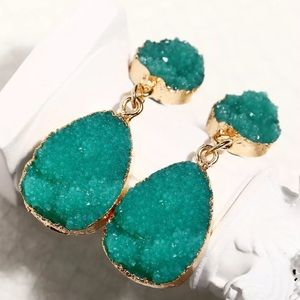 Druzy Drop Earrings-NWT-Gold & Turquoise Crystals